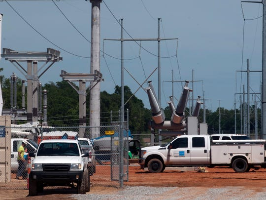 Contractors build a new substation for Gulf Power Company in the Bellview area on May 1, 2017.