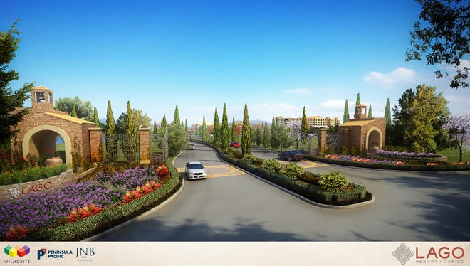 An artist's rendering of the roadway leading to planned Lago Resort & Casino in Tyre, Seneca County.