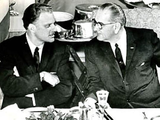 Billy Graham with President Lyndon B. Johnson.