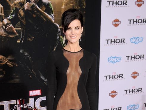 Jaimie Alexander shows skin on Monday at the 'Thor: The Dark World' premiere at the El Capitan Theatre in Hollywood.