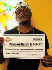 Craigory Burch Jr. has won nearly half a million dollars playing Ga. Lottery Fantasy 5.