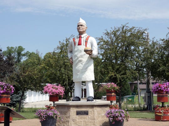 A statue in Seymour honors town hero Charlie Nagreen, who is believed to have invented the hamburger.
