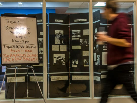 A timeline of Martin Luther King, Jr.'s life and legacy is displayed at SUU's Leavitt Center, Tuesday, Jan. 19, 2016.
