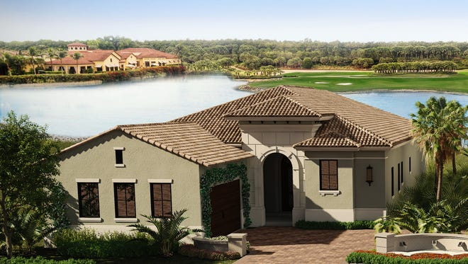 The three-bedroom, three-and-a-half bath Oakmont model is under construction in Villa d'Este at Miromar Lakes Beach & Golf Club.