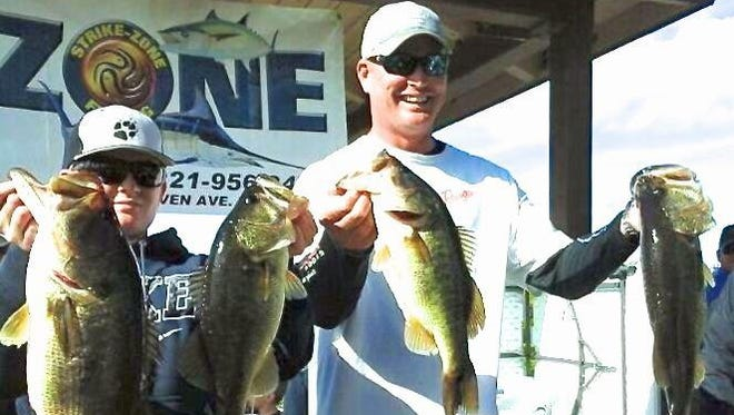 Kyle Walters and his son Andrew, 14, competed as a team in last year's Strike Zone Bass Trail and they won the championship worth a prize of more than $2,000 in cash. This year's four-tournament series will begin Feb. 6. Registrations now are being accepted by Strike Zone Fishing at its West Melbourne store.