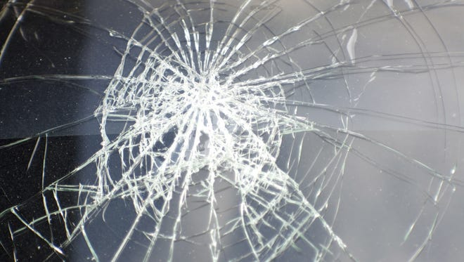 File photo. Broken glass from a vehicle.