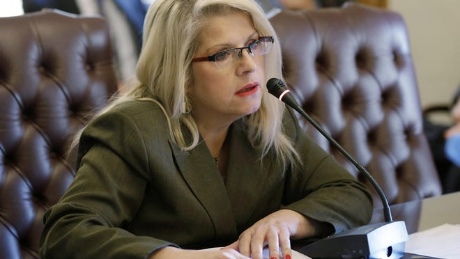 FILE - In this Jan. 28, 2015, file photo, Sen. Linda Collins, R-Pocahontas, speaks at the Arkansas state Capitol in Little Rock, Ark. Rebecca Lynn O'Donnell on Thursday, Aug. 6, 2020, pleaded guilty to first degree murder in the death of Collins.