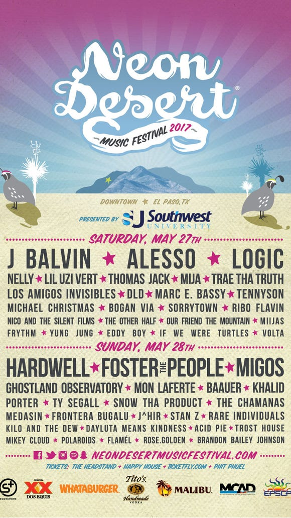The daily lineup for the 2017 Neon Desert Music Festival.