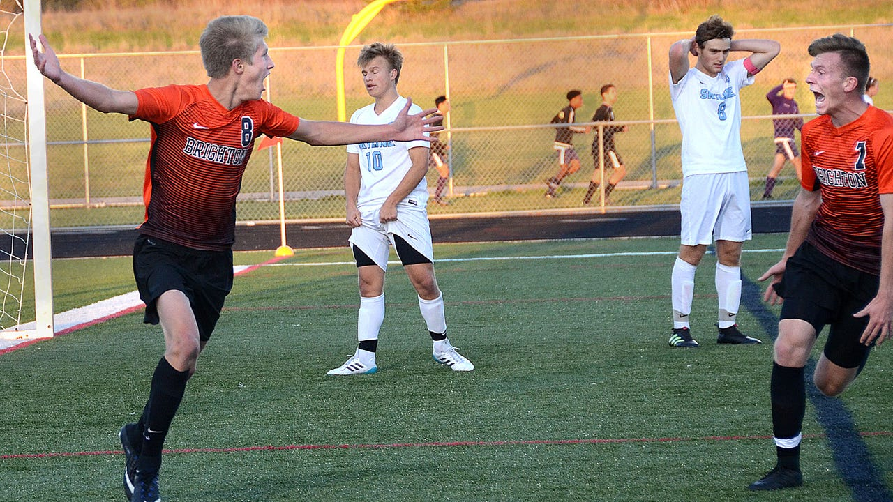 Keegan Gormley and Charles Sharp scored second-half goals to give Brighton a 2-1 come-from-behind victory over No. 1-ranked Ann Arbor Skyline in district soccer.