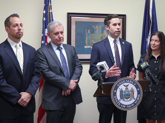 From left, Asst. District Attorney Richard Moran, Rockland District Attorney Thomas Zugibe, NYS Assemblyman Kenneth Zebrowski and Susan Bernstein, estranged wife of Ira Bernstein, appear for a press conference at Assemblyman Zebrowski's New City office on Friday, May 11, 2018 to push for strengthening the conspiracy to commit murder charges.