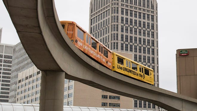 The Detroit People Mover moves toward the Millender Station in Detroit on Thursday, December 21, 2017.
