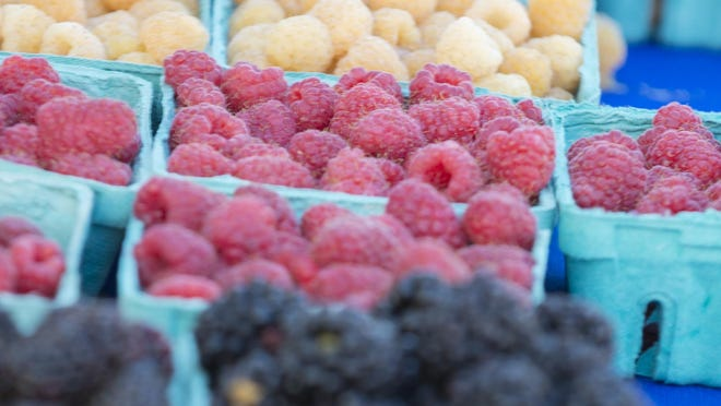 Golden, red and black raspberries are on display at the Corvallis farmers' market. Luckily, raspberries can be bought frozen in the off season.