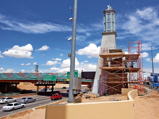 Rudy Gutierrez—El Paso Times Work continued on several lighted towers along I-10 and U.S. Highway 54 on Friday. This one is located along I-10 West at the Raynolds Street intersection.