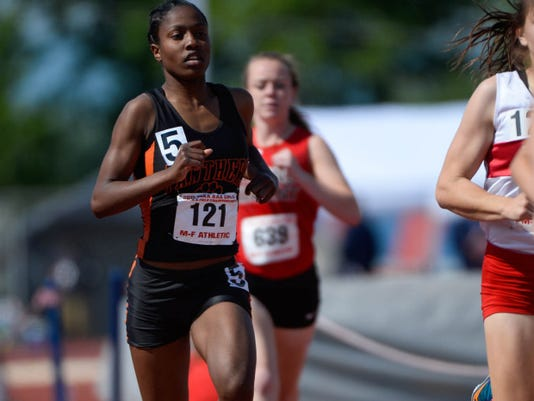Central York's Erin Wilson competed in the girls' Class AAA 800-meter preliminary run, as athletes competed in the PIAA State Track and Field Championships at Shippensburg University on May 22.