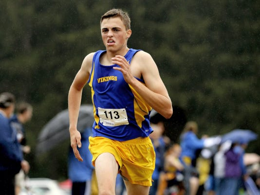 Northern Lebanon's Tyler McFeaters, shown here winning the Lebanon County Boys Cross Country meet in the fall, is a leader on and off the track for the Vikings' track and field team.