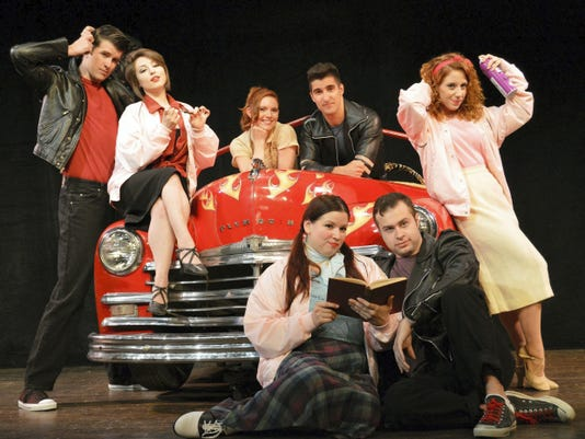 """Broadway veterans Megan Campanile and Alex Aguilar, center, star in the musical """"Grease,"""" opening Aug. 1 at Totem Pole Playhouse, along with, from left, Chris Stevens, Hannah Zazzaro, Taylor Whidden, Trey Harrington and Kelsey Thompson."""