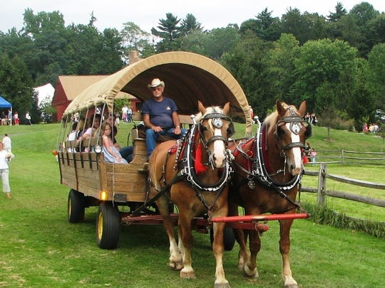 Take a ride on the horse-drawn wagon at Fosterfields Living Historical Farm.
