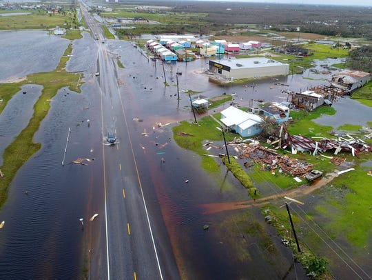 Flooding is seen in Aransas County Texas, along the
