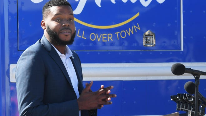 Stockton Mayor Michael Tubbs speaks before the groundbreaking ceremony for a modernization project at the wastewater control facility in October.
