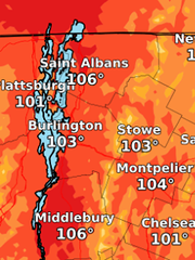 A forecast of the region's heat index for Monday -