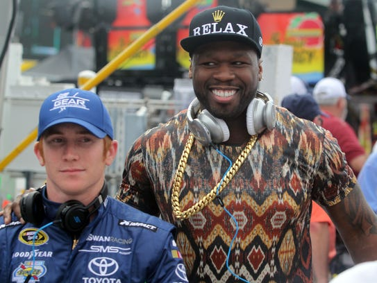 Cole Whitt, left, and 50 Cent hung out on the grid