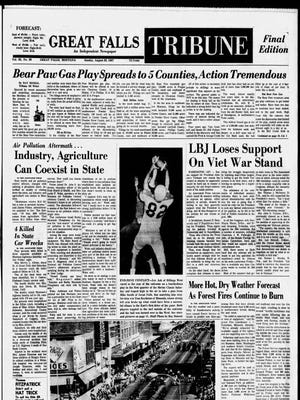 Front page of the Great Falls Tribune from Aug. 20, 1967.