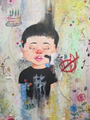 This acrylic on paper artwork by Christopher Ramirez of Perth Amboy High School is among the works on display at libraries in North Brunswick and Sayreville.