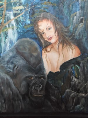 """""""Beauty and the Beast"""" is a  painting by Tom West, seen at the Mesquite Fine Arts Gallery."""