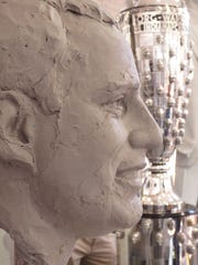 The process of sculpting Indianapolis 500 winners such as Juan Pablo Montoya goes through various stages.