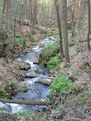 Hatch Brook cascades along the trail for several hundred feet.