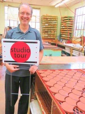 At Syzgy Tile, artisans work together to produce an exquisite line of handmade tiles. Patrick Hoskins, showroom manager, is ready to give tours during the Red Dot Art Fest and Studio Tour.