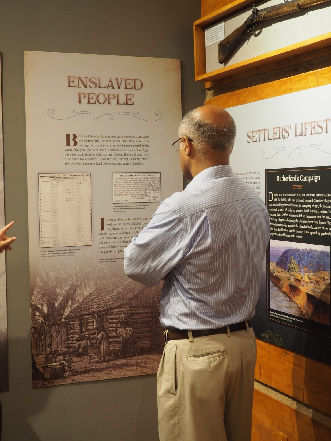 Anthony Vance looks at an exhibit at the Zebulon B.