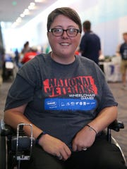 Army veteran Jessie Oliff, 34, of King William, Virginia, is pictured during the 37th National Veterans Wheelchair Games, Wednesday, July 19, 2017, at the Duke Energy Convention Center in Cincinnati.
