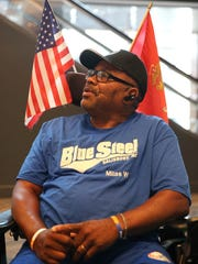 U.S. Marine Corps veteran Milas Wyatt, 62, of Salisbury, North Carolina, is pictured during the 37th National Veterans Wheelchair Games, Wednesday, July 19, 2017, at the Duke Energy Convention Center in Cincinnati.