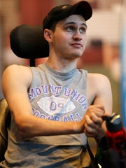 U.S. Marine Corps veteran Austin Trzop, 22, of Newcomerstown, Ohio, is pictured during the 37th National Veterans Wheelchair Games, Wednesday, July 19, 2017, at the Duke Energy Convention Center in Cincinnati.