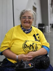Air Force veteran Wendy Griffin, 57, of Salt Lake City, Utah, is pictured during the 37th National Veterans Wheelchair Games, Wednesday, July 19, 2017, at the Duke Energy Convention Center in Cincinnati.