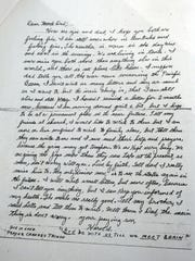 In what family members believe to be his last letter