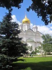 A gold-domed cathedral inside the grounds of the Kremlin