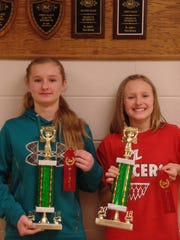 Siblings Marissa Mehlhorn and Mallory Mehlhorn were winners in St. John's Lutheran School's Spelling Bee on Feb. 20.