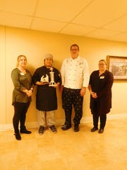 Jimmy Yang, culinary services, was chosen for the Service Excellence Star Award for the month of February at Felician Village. Picture attached from left are Dani Schmidt, culinary services manager; Yang; Michael Collins, executive chef; and Lindsey Corbeil, culinary services kitchen supervisor.