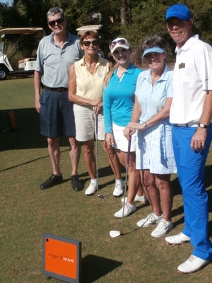 From left, Jean Ste-Marie, Christiane Rocchesani, Katie Detlefsen, Gisele Ste-Marie and Dan Lockhart after a lesson that used TrackMan system at Raptor Bay Golf Club.