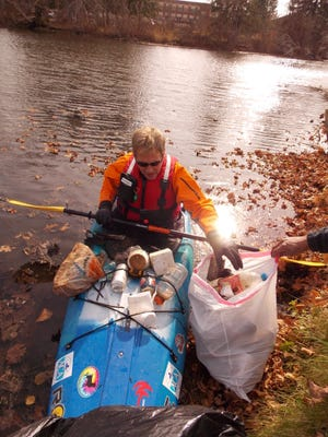 The Eaton Rapids Civitan Club helped clean Spring Brook near the Playground of Dreams.