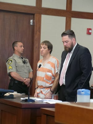 Ex-NASCAR driver Tyler Walker appeared in the Fifth District Court on Monday, March 30, 2015 for sentencing on charges stemming from a multi-state high-speed chase in January 2013 that ended in St. George.