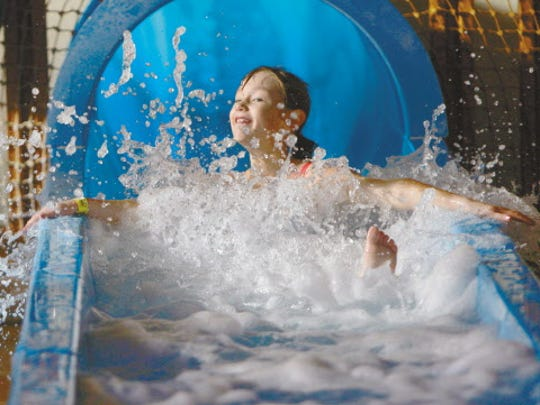 Splash into fun on a water slide at Springs Water Park at the Ingleside Hotel in Waukesha.