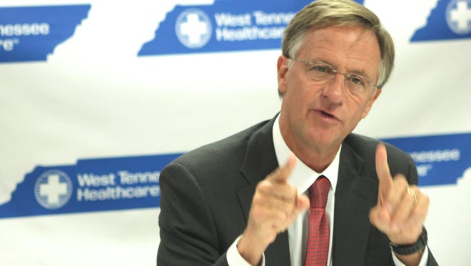 Gov. Bill Haslam met with media and community leaders at Jackson-Madison County General Hospital Jan. 21.