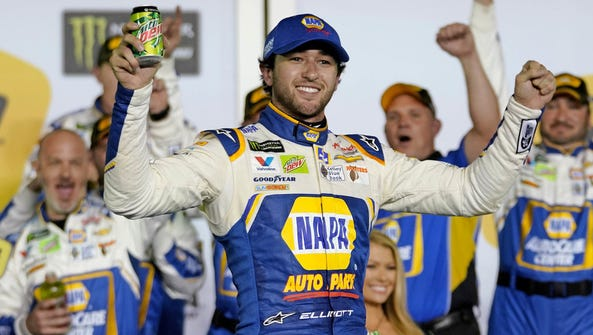 Chase Elliott celebrates after winning the second Can-Am