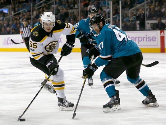 Boston Bruins center Noel Acciari (55) moves the puck past San Jose Sharks defenseman Joakim Ryan (47) during the first period of an NHL hockey game Saturday, Nov. 18, 2017, in San Jose, Calif. (AP Photo/Tony Avelar)