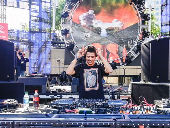 Seth Troxler performs at the 2014 Movement Electronic Music Festival at Hart Plaza in downtown Detroit.