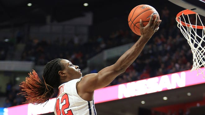 Guard Stefan Moody scored the game-winning shot for Ole Miss against Georgia last month. The Rebels enter Saturday's game against the Bulldogs needing a win.