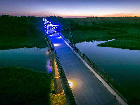The High Trestle Trail Bridge over the Des Moines River Valley near Madrid, Iowa, Tues., Aug. 26, 2015. This half-mile long, 13-story high bicycle-pedestrian bridge views up and down the Des Moines River Valley.